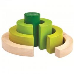 Blocs incurvés en bois recyclé