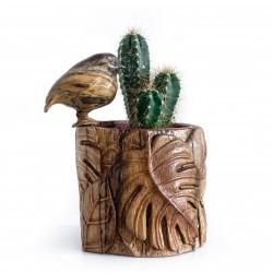 Cache-pot en bambou, décor tropical accompagné de son Tec-tec en bois flotté / Artisanat d'art