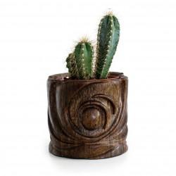 Cache-pot bambou pour plante d'intérieur au design marin sculpté à la main.