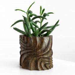 Cache-pot en bambou  / art abstrait pour plante d'intérieur
