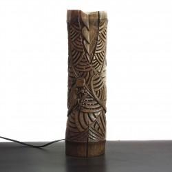 Lampe unique sculptée dans du bambou flotté / Gecko