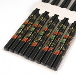 Set de 5 paires de baguettes chinoises