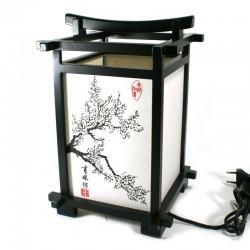 Lampe de table japonaise noire, sakura, SHINDEN