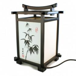 Lampe de table japonaise noire, Bambou, SHINDEN