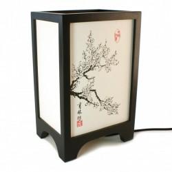 Lampe de table japonaise FUKU noire - cerisier en fleurs