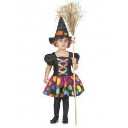 Déguisement sorcière colorée petite fille