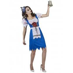 Déguisement bavaroise zombie bleue femme