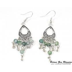 Boucles d'oreilles agate mousse bobo chandelier ovale - Bijoux zen Réunion