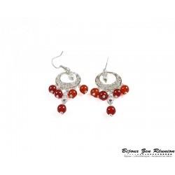 Boucles d'oreilles cornaline bobo chandelier - Bijoux zen Réunion