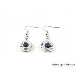 Boucles d'oreilles double lune en lapis lazuli - Bijoux zen Réunion