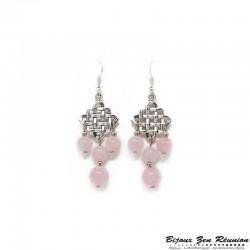 Boucles d'oreilles lustre en quartz rose - Bijoux zen Réunion