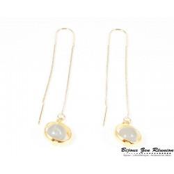 Boucles d'oreilles pendantes pierre de lune - Bijoux zen Réunion