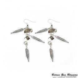 Boucles d'oreilles pendantes en quartz fumé avec breloques plume - Bijoux zen Réunion