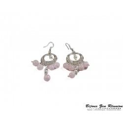 Boucles d'oreilles quartz rose bobo chandelier - Bijoux zen Réunion