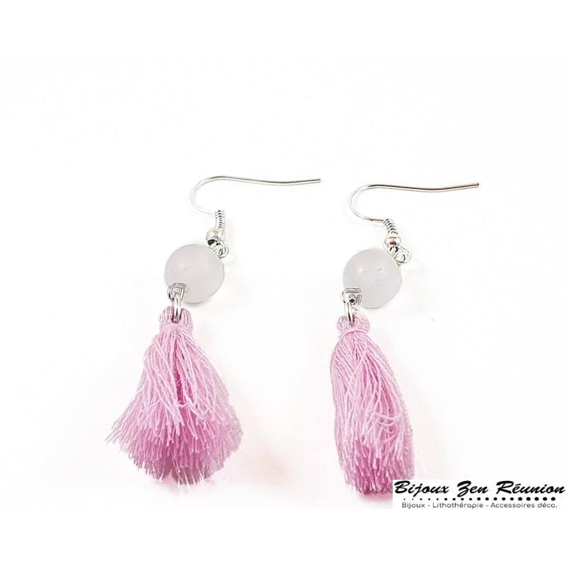 Boucles d'oreilles quartz rose et pompon - Bijoux zen Réunion