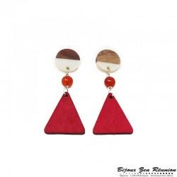Boucles d'oreilles triangle en bois et cornaline - Bijoux zen Réunion