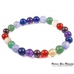 bracelet 7 chakras perles alternées 8mm - Bijoux zen Réunion
