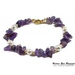 Bracelet améthyste copeaux et perles d'eau - Bijoux zen Réunion