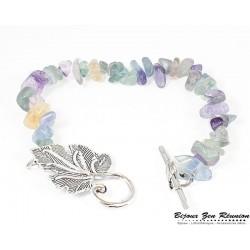 Bracelet copeaux de fluorine fermoir feuille - Bijoux zen Réunion