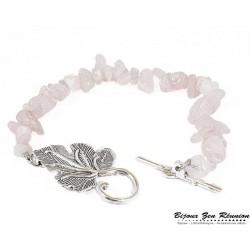 Bracelet copeaux de quartz rose fermoir feuille - Bijoux zen Réunion