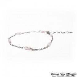 Bracelet de cheville en quartz rose - Bijoux zen Réunion
