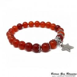 Bracelet cornaline et breloque étoile - Bijoux zen Réunion