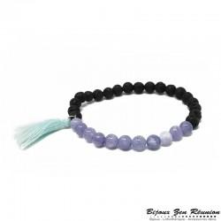 Bracelet en pierre de lave, aigue marine et pompon - Bijoux zen Réunion
