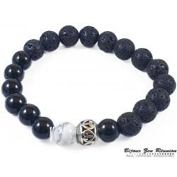 Bracelet homme pierre de lave et agate noire - Bijoux zen Réunion