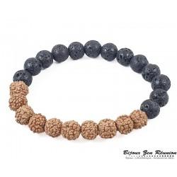 Bracelet pierre de lave et graines de Rudraska - Bijoux zen Réunion
