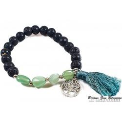 bracelet pierre de lave aventurine et pompon - Bijoux zen Réunion