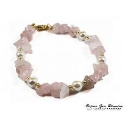 Bracelet quartz rose copeaux et perles d'eau - Bijoux zen Réunion