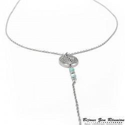 Collier avec pendentif arbre de vie en turquoise - Bijoux zen Réunion