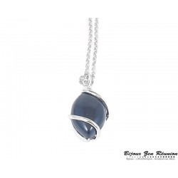 Collier avec pendentif goutte en onyx - Bijoux zen Réunion