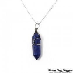 Collier avec pendentif pointe en lapis lazuli - Bijoux zen Réunion