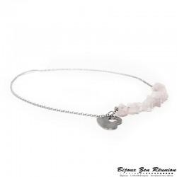 Collier copeaux de quartz rose avec breloque coeur - Bijoux zen Réunion