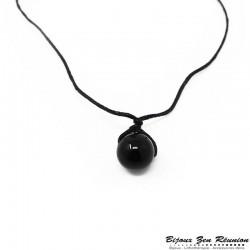 Collier en cordon ciré avec perle d'obsidienne - Bijoux zen Réunion