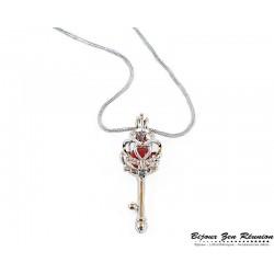 """collier """"cage au trésor"""" en forme de clé cornaline - Bijoux zen Réunion"""