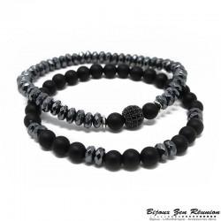 Duo bracelet agate noire et hématite - Bijoux zen Réunion
