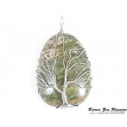 Pendentif arbre de vie en unakite - Bijoux zen Réunion