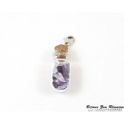 Pendentif bouteille et améthyste - Bijoux zen Réunion