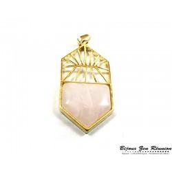 Pendentif quartz rose motif aztek