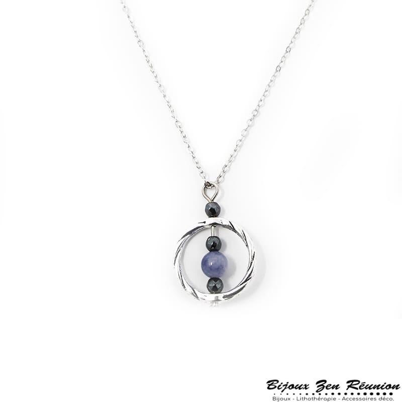 Collier avec pendentif en quartz bleu et hématite - Bijoux zen Réunion