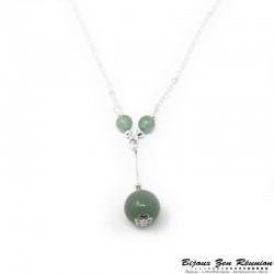 Collier avec pendentif perles en aventurine - Bijoux zen Réunion