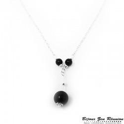 Sautoir avec pendentif perles en obsidienne