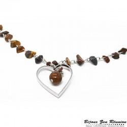 Sautoir en copeaux d'oeil-de-tigre avec pendentif coeur