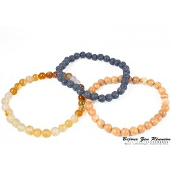 Trio de bracelet perles bois, lave et cornaline