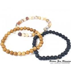 Trio de bracelet perles bois, lave et jaspe