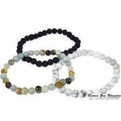 Trio de bracelet pierre de lave, howlite et amazonite