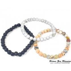 Trio de bracelet pierre de lave, howlite et jaspe